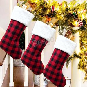 Рождественские украшения Штэд. Задача красных плед Рождественские чулки Рождественская елка орнамент дети Санта-Клаус подарок конфеты носки BH4304 TQQ