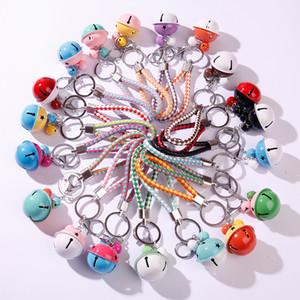 Moda Doble color campana llavero de cuero cuerda trenzado llavero llavero tejido cable de cuero llavero porta cadena de accesorios colgantes 288 n2