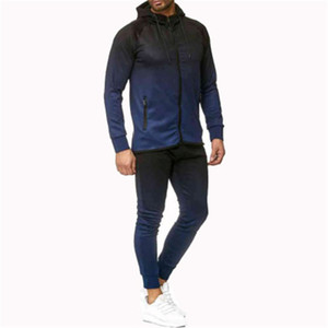 Man Gradient Winter Sets Fashion Trend Long Sleeve Zipper Hooded Coats Drawstring Sports Pants Suits Designer Male Casual 2Pcs Tracksuits