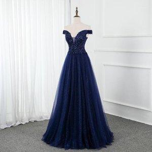 Fashion sexy miss shoulder mermaid evening dress royal blue short-sleeved crystal banquet dress shiny lace1