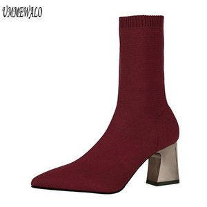 Woman Pointed Toe Stretch Sock Boots Women Fashion High Heel Shoes Ankle Length Boots Winter Ladies Shoes 336-7
