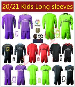 Novo 2020 2021 crianças Soccers Jerseys longo mangas de camisa de futebol filhos kit 20 21 1 NAVAS 13 COURTOIS Goleiro meninos uniformes de futebol juvenil