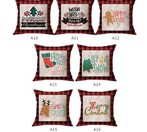 45*45cm Christmas Pillowcases Red Grids Linen Letters Cartoon Pillow Case Xmas Design Throw Pillow Covers Home Decorations E102602