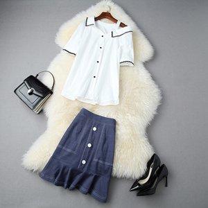 gevşek gömlek yüksek bel sideshoulder 2020 yaz kadın yenisi balık kuyruğu etek skirtShirt kot skirtdenim etek 11012 bzTd6 set