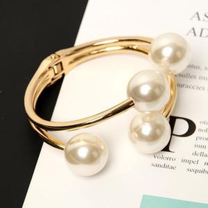 Anke Original Store Stylisme populaire Bangles Double couche Gold Pearl Femme semi-ouverture asymétrique Bracelet pour les femmes