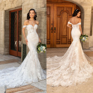 2021 New Kitty Chen Mermaid Wedding Dresses Off Shoulder Lace Appliques Wedding Dress Backless Sweep Train Bridal Gowns vestidos de novia