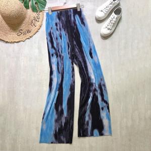 Le donne pieghettate larghe gamba larga sciolto stile casual stile tie-dye inchiostro stampa alta vita grande teatro lungo pantaloni BOHEMIA Beach
