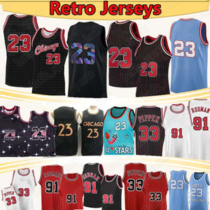 chicago bulls  Scottie 33 Pippen 23 Nba Jerseys Pallacanestro Dennis 91 Rodman College North Carolina State University Mesh Baskey Jersey 2021
