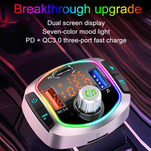 Bluetooth 5.0 Car Kit Wireless FM Transmitter Handsfree Calling A2DP Music Playing 5V 2.4A PD3.0   Type C Fast Charger
