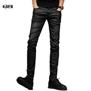 Idopy мужские джинсы с покрытием для мужчин Корейский мода прохладный вощеной воском Slim Fit Biker джинсовые штаны