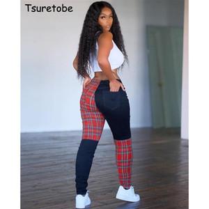 Tsuretobe Patchwork Plaid Pants Mulheres Fall 2020 Mulheres Roupa Streetwear cintura alta Corredores Pockets Calças Casual Multicolor