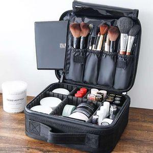 Косметические сумки чехлы PU мешок путешествия женские профессиональные макияж женщины большой емкости холст кожаный материал женское организм