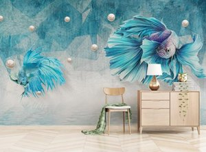 Custom Any Size Murals Wallpaper 3D Dark Blue Abstract Lines Guppies Jewelry Photo Wall Painting Bedroom Decor 3D Fresco