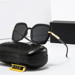 Moda Pérola Designer de óculos de sol de alta qualidade marca polarizada lente sol óculos óculos para mulheres óculos frame metálico 5 cor 1125