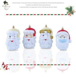 3D Reçine Noel Baba kolye Noel Oranment 2020 Xmas ağacı Asma Süs Survivor Aile Sosyal Mesafenin Parti Dekorasyon EEC3323