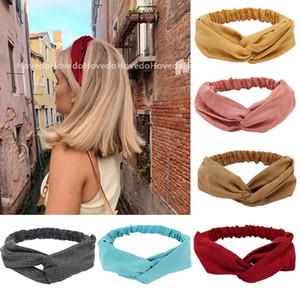 Women Summer Suede Headband Vintage Cross Knot Turban Elastic Hair Bands Soft Solid Girls Hairband Headwear Hair Accessories