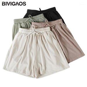 Bivigaos Yaz Yeni Tatlı Şort Kadın İpli Rahat Şort Artı Boyutu Gevşek Geniş Bacak Bayanlar LungeWear1
