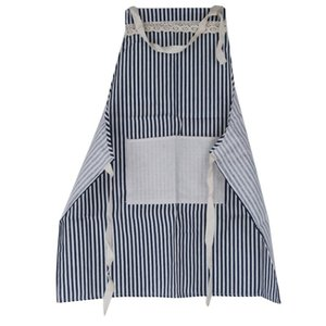 Anti Oil Adult Cotton Linen Red Stripes Pocket Kitchen Lovely Pure Cotton Apron Men Work Clothes Cooking Lady Around The Waist