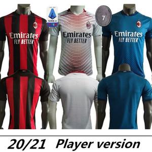 Version du joueur 20 21 Ibrahimovic AC Milan Jerseys Soccer Calhanoglu Brahim Reciction Theo Tonali Football Shirt Romagnoli Men