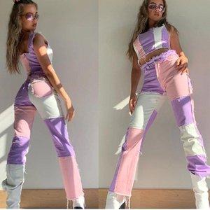 Женские джинсы коричневые пэчворки Grunge 90s эстетическая уличная одежда хиппи контрастный стежок синие брюки высокая талия случайный 2021