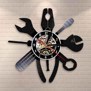 Авто Ремонт стены искусства Обслуживание автомобилей Механик гаража салон Часы настенные вагоноремонтный станция Войти Mechanic Vinyl Record настенные часы