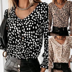 2020 우아한 VNeck 버튼 오피스 레이디 블라우스 셔츠 가을 겨울 긴 소매 여성 풀오버 섹시한 물방울 무늬 프릴 캐주얼 Blusas 탑