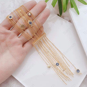 High Quality Luxury 925 Sterling Silver Yellow Gold Color Lucky Fish Compass Tassel Bracelet Women Fashion Party Jewelry