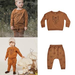 EnkeliBB Rylee и Cru Kids Fox Pattern Толстовки Брюки Matching мальчиков с длинным рукавом Повседневные топы на осень зимней детской одежды 1006