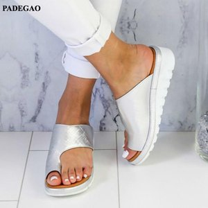 PADEGAO Flat Bottom To E Sleeve Femme Platform Sandals And ARAS Slippers Shoes Women Wedges And ALS Size 34-43 PDG010