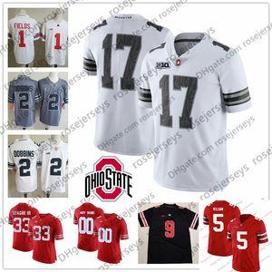 Personalizado Ohio State Buckeyes College Football Campos Dobbins Olave Jovem Teague Burrow OSU Fiesta Bowl 150º Branco Vermelho Cinza Preto Camo Jersey