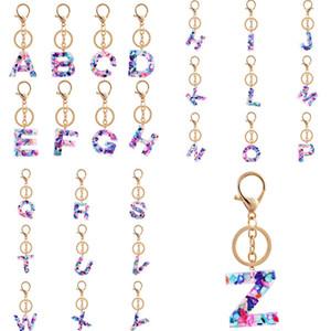 Joyería del alfabeto llaveros Llavero del nombre del anillo 26 iniciales en inglés Cartas Llaveros coches Monedero bolsos Accesorios 100pcs T1I2533