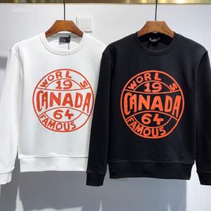 Para hombre casual de manga larga jersey de cuello redondo resorte y el otoño letra impresa jersey camiseta de la moda negro y un suéter blanco