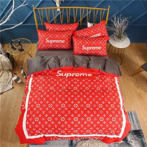 sistemas del lecho de terciopelo rojo vivo gruesa edredones cama de matrimonio tamaño queen conjuntos cubren housse de Couette carta llena conjunto funda de edredón de invierno