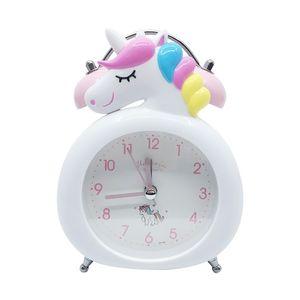 Niños Historieta Unicorn Alarm Reloj de alarma Bell Alarm Reloj Mesa de Escritorio Reloj LED Digital Relojes Licorne Reveil Regalo para niños 201222