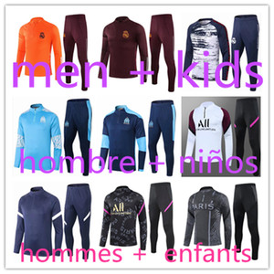 2021 Men + kids jogging football training tracksuit kits 20 21 boys real madrid survetement foot soccer chandal futbol Marseille chándal