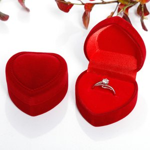 10 colors Velvet Heart Shaped Jewelry Package Classical Ring Earrings Jewelry Box Valentine's Day Wedding Gift Package Box GA122