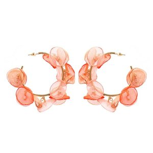 Colorful Lace Flower Earrings Exaggerated Creative C-shaped Circle Hoop Earrings Charm Fashion Jewelry for Women Girls