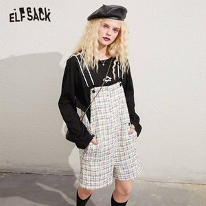 ELFSACK White Tweed Straight Casual Women Overall Wide Leg Jumpsuits,2020 Autumn ELF Colorblock Korean Ladies Daily Bottom