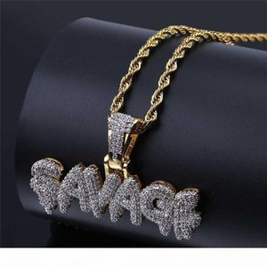 Hot Mens Hip Hop Jewelry Iced Out 18K Gold Plated Fashion Bling Bling Letter Pendant Men Necklace Gold Filled For Gift Present