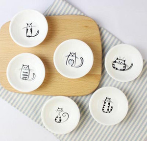 Dish Soy Ceramics Small Cute Jam Dishes Sauce Snack Plate Small 6pcs set Novelty Cat Vinegar Kitchen Dish Gift Tableware jllqS yummy_shop