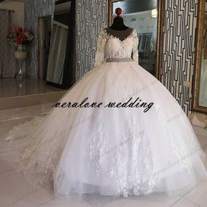 Chic Princess Ball Gown Wedding Dress Robe De Mariee 2021 Sheer Long Sleeves Lace Appliques Bridal Gowns Bead Sash
