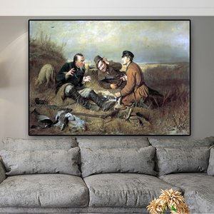 Vasilij Perov Hunters at rest Oil Painting on Canvas Posters and Prints Cuadros Wall Art Pictures For Living Room Modern Minimalism Style