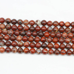 1strand Lot Natural Stone Red Brecciated Jaspers Bead Round Gem Loose Spacer Beads For Jewelry Making Findings Diy Bracelet Gift H bbybNo