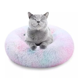 Round Long Plush Super Soft Dog Bed Pet Kennel Sleeping Bag Lounger Cat House Winter Warm Sofa Basket for Large Dog   Cat Hous