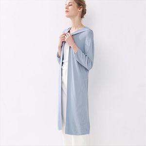 2019 new womens summer cardigan long sleeved hooded casual thin coat loose knit cardigan sunscreen shirt linen ice silk