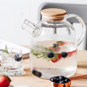 1L 1.5L Big Transparent Borosilicate Glass Teapot Heat-Resistant Large Clear Tea Pot Flower Tea Set Puer Kettle Office Home Tool