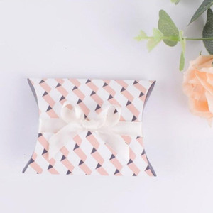 Wedding Cute Favor Kraft Party Pillow Shape Favour Candy Boxes Gift Paper Strip Box Bags Supply