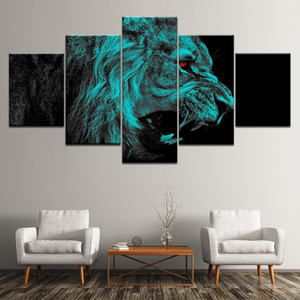 5 Panel Red Eye Lion Wall Art Pictures HD Printed Painting Decor Framework Canvas Art Home Decorative Animal Poster