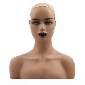 Perruque Stand PVC Entraînement Mannequin Têtes Tête Réaliste Demi-Body Double épaule pour affichage Wigs Hat bijoux