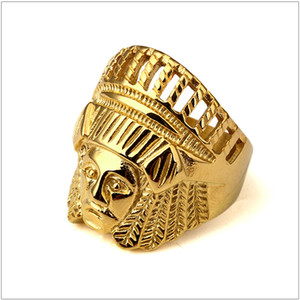 Big Men's Stainless Steel Gold Color Tribal Native Indian Chief Head Ring Big Band Ring Size 7-14 Available Hip Hop Ring